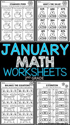 These January Math Worksheets are a wonderful way to give your students extra practice on the skills covered this time of year.  (45 pages)  Here are a few of the skills: ►Standard Form ►Count back by 10's ►Count by 3's ►Drawing Arrays ►Place Value (What's the value?) ►Money (draw 2 ways to show the amount) ►Addition ►ubtraction ►2-Digit Addition and Subtraction(No Regrouping) ►2-Digit Addition and Subtraction (With Regrouping) ►3 2-Digit Addition