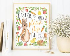 Easter Printable Easter Bunny Please stop here by AdornMyWall