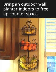 Kitchen Remodel Ideas Fresh produce can be stored in recycled planters to help declutter kitchen countertops - Declutter kitchen counters - Check out these 11 clever ways you can rid your kitchen counters of clutter and be more organized! Kitchen Organization, Organization Hacks, Kitchen Storage, Storage Hacks, Organizing Ideas, Rv Storage, Fruit Storage, Kitchen Vegetable Storage, Home Storage Ideas
