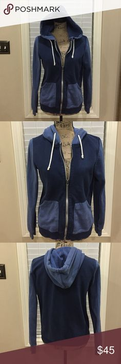 """💕BDG-UO-light/dark blue heavy comfy hoodie! 💕BDG-UO-light/dark blue heavy comfy hoodie! This is a wonderful Urban Outfitters hoodie that's a little thicker for layering. Navy body with medium blue pockets, hood, and sleeves. Variegated colors rate high for cool style points. Preloved in excellent condition. Has a slightly distressed comfy look.  Pit to pit measurement is 19"""". Length is 23"""". Urban Outfitters Jackets & Coats"""