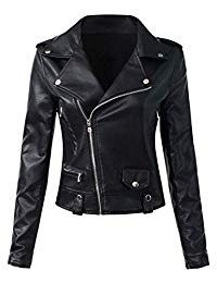 Sungtin Women's Black Faux Leather Motorcycle Biker Short Jacket Coat X-Large Faux Leather Jackets, Pu Leather, Black Leather, Dress And Heels, Look Chic, Vest Jacket, Coats For Women, Ladies Coats, Casual
