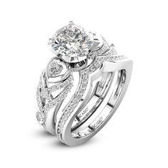 Vancaro Black Threestone Princess Cut Womens Wedding Ring Set