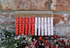 Christmas Card Holder Clothespin Kit  Polka by PurplePirateStudios