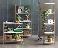 3 forskjellige BROBY bokhyller i bambus og hvit | JYSK