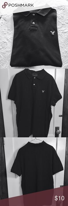 AEO flex solid pique polo American Eagle Outfitters flex solid pique men's polo, athletic fit.  Black, size XL. 2-button polo placket. Ribbed collar and armbands. Vented hem. Embroidered icon @ chest. Stretch pique for ease of movement. Cotton blend. Excellent used condition, no flaws or wear. American Eagle Outfitters Shirts Polos