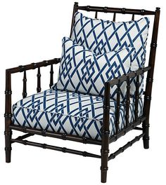 One Kings Lane - Architectural Details - Clarence Armchair, Royal Blue