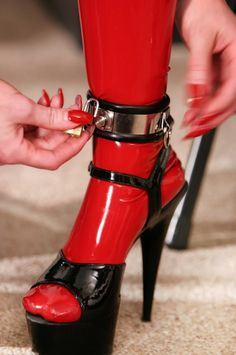 _ Latex Heels Lock Straps and Chrome