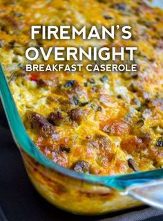 Brunch Recipes Fireman's Overnight Breakfast Casserole With Country Gravy – Page 2 Overnight Breakfast Casserole, Breakfast Desayunos, Breakfast Items, Breakfast Dishes, Breakfast Casserole With Bread, Make Ahead Breakfast Casseroles, Breakfast Casserole With Bacon, Christmas Breakfast Casserole, Breakfast Enchiladas