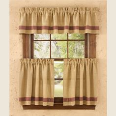 """Burlap & Check Red Collection adds sophisticatedcountry charm, featuring a natural soft burlapwithred minicheck accents, perfect for your primitiveor countryfarmhouse home decor. Burlap & Check Red Tiers - 24""""measure72""""W x 24""""L. Coordinating window treatments are available. 100% cotton; unlined. Dry cleaning recommended to prevent shrinkage. Complete your country look with aWrought Iron Rod."""