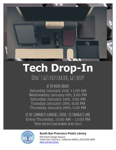 Tech Drop-In Main Library, Learning Centers, Tech, Drop, Technology