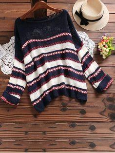 Boat Neck Drop Shoulder Contrast Sweater - PURPLISH BLUE ONE SIZE