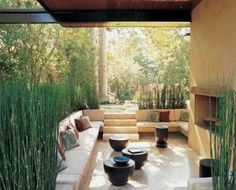 decks/patios - sunken patio pillows seating fireplace  Zen   outdoor patio garden with fireplace!