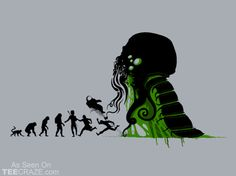 """""""Lovecraftian Darwinism"""" by AlanBao Survival of the fittest or scariest. Cthulhu, Hp Lovecraft, American Horror, Cool T Shirts, Evolution, Nerdy, Pop Culture, Geek Stuff, Fictional Characters"""