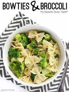 Bowties and Broccoli - A new go-to.  I quickly steamed some fresh broccoli instead (didn't have frozen), and didn't skimp on the parm or butter.  Would be quick and easy with any frozen veges (peas or carrots). A pinch of red pepper flakes sets it off nicely.