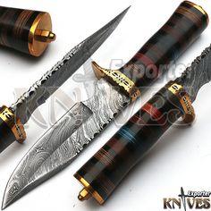 KNIVES EXPORTER New Custom Damascus Steel Hunting Knife, Wooden & Brass Handle #KNIVESEXPORTER
