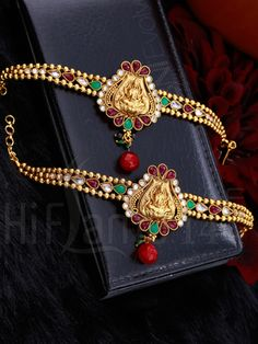 Multicolor Stones Studded Mahalakshmi Armlets