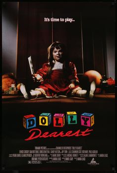 """Film: Dolly Dearest (1991) Year poster printed: 1991 Country: USA Size: 27""""x 40"""" A vintage, rolled, one-sheet (27""""x 40"""") movie poster for the 1991 horror film Dolly Dearest starring Denise Crosby, Sam"""