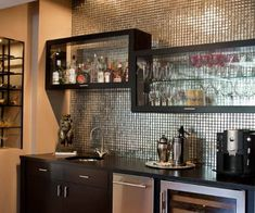 New kitchen bar built in sinks Ideas Kitchen Interior, New Kitchen, Kitchen Ideas, Home Bar Areas, Window Seat Kitchen, Built In Bar, Built Ins, Modern Basement, Basement Ideas