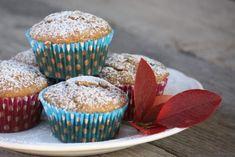 Banánovo - čučoriedkové muffiny - recept Dessert Recipes, Desserts, Food And Drink, Breakfast, 3, Cupcake, Tailgate Desserts, Morning Coffee, Deserts