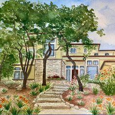 Beautiful home with lovely landscaping. 🖼 First Home Gifts, New Home Gifts, House Illustration, Realtor Gifts, House Drawing, Hand Sketch, Watercolor Artwork, Cool Lighting, Custom Paint
