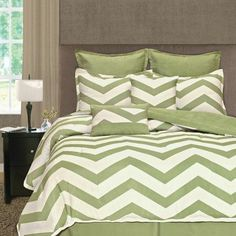 Home Fashions International Palmetto Print Works Chevron 8 Piece Comforter Set Size: Queen, Color: Lime Green Blue Comforter Sets, Best Bedding Sets, Green Bedding, Bed Sets, White Trellis, Green Queen, Comforters, Master Bedroom, Chevron