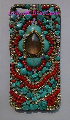 Bohomian iPhone Covers iPhone skin unique iPhone 4 Case iPhone 5 Case, turquoise stone red bead swarovski iPhone 5 Case Galaxy S4 case S3 on Etsy, $33.59