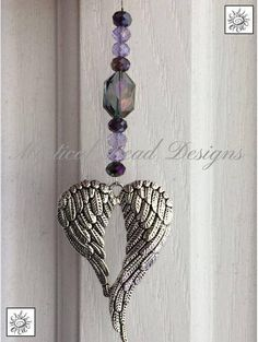 """Silver Plated Double Angel Wings Heart Shaped Pendant Charm Crystal Glass Beaded Hanging Ornament, Car Rear View Mirror Charm, Wall or Porch Decoration, Window Tree Jewelry Home Decor, Glass Art Handmade By """"Mystical Bead Designs"""""""