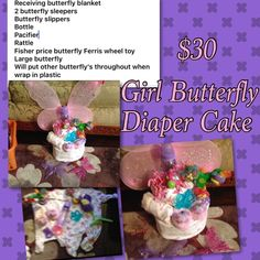 Butterfly diaper cake Will have more butterflies throughout once wrap in plastic Other
