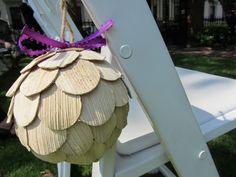 Rustic Aisle Pomanders With Jute And Purple Ribbon