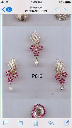 Ruby and cz set in gold Ruby Jewelry, Wedding Jewelry, Jewelery, Mini Hoop Earrings, Small Earrings, Diamond Necklace Set, Diamond Pendant, Gold Jhumka Earrings, Earings Gold