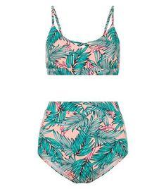 Teens Green Palm Print Lattice Front Bikini | New Look
