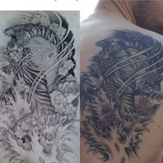 Tiger tattoo. Japanese tattoo. Great work by Naughty Needles in Bolton.