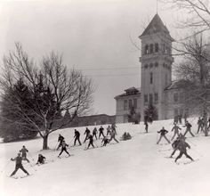 Ski class on Old Main Hill (College Hill), 1940s :: Utah State University Historical Photo Collection