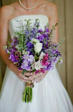 Ultra Pretty Rustic/Country/Shabby Chic Hand Tied Bridal Bouquet Comprised Of: Lavender, Violet & Purple Stock, Lavender Delphinium, Lavender Caspia, Fuchsia Alstromeria, White Roses & White Daisies ~~