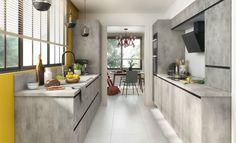 O bucătărie prietenoasă și completă. Fețele de ușă cu aspect de beton, ușor de întreținut și care se pot combina în multiple feluri, permit realizarea unor arhitecturi de bucătărie pe cât de frumoase, pe atât de practice. Kitchen Island, Kitchen Cabinets, Modern, House, Furniture, France, Home Decor, Island Kitchen, Trendy Tree