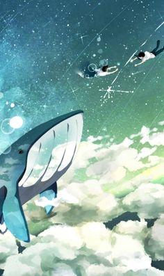クジラと落ちる二人のiPhone壁紙 | 壁紙キングダム スマホ版