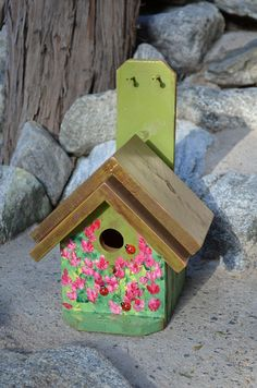 Hand Painted Country Rustic Birdhouse  by BirdhousesByMichele, $60.00 Oh how we love the Lady Bug and spring time flowers in bloom. Birds love these birdhouses.   www.thebirdhousebuilder.com to see how birds love these handcrafted birdhouses.