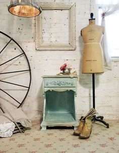 Painted Cottage Chic Shabby Aqua French Night by paintedcottages, $120.00