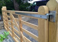 Automated Gate - Air dried oak five bar gate, Faversham, Kent - Oakleigh Manor Wood Fence Gates, Brick Fence, Wooden Gates, Side Gates, Front Gates, Entrance Gates, Brick Design, Fence Design, Gate Company
