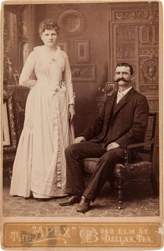 "[Texas Rangers]. James C. Barringer and Dora I. Boydstun Wedding Portrait, circa 1889. 4.25"" x 6.5"" cabinet card."