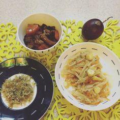 和哥哥的今日午餐沖繩風煮物/什錦馬鈴薯/隔夜小魚香鬆 #媽我越來越會了