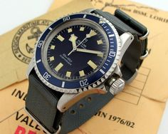 Tudor Submariner snowflake issued by the Marine Nationale (French Navy) in 1976 Army Watches, Sport Watches, Cool Watches, Rolex Watches, Watches For Men, Tudor Submariner, Rolex Submariner, Nato Strap, Leather Watch Bands