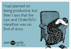 I had planned on being productive, but then I saw that the Law and Order:SVU marathon was on. End of story.