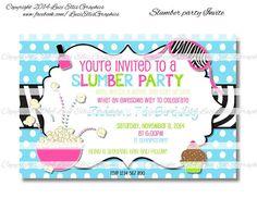 Slumber Party Birthday Invitation  Print by LuziEllisGraphics