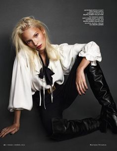 Vogue Russia loves Sasha Luss  and its easy to see why. The platinum haired beauty is on a roll after a stellar season and she possesses an innate grace in front of the camera. On the cover of VR's special issue dedicated to the history of Russian style in Vogue, Sasha is front and center wearing Ralph Lauren collection in a serene shot by Mariano Vivanco that captures her beauty perfectly.