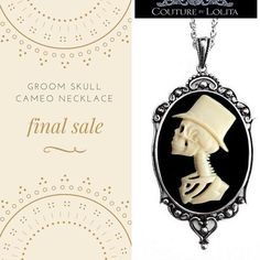 "FLASH SALE! Groom Skull Cameo Necklace! Orig. $38 sale price today $15. Limited quantities. To purchase: Comment ""Sold""! If you are not registered with #CBL please DM your email to be invoiced. Shipping is Free for US/CAN or $8 International).  The resin cameo detailing of the beige skeleton man on a black background showcases careful details that can be felt to the touch. A necklace guaranteed to add a statement to your little black dress! With a Victorian appeal the 2"" oval framed pendant…"