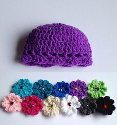 $11.00 - Baby girl infant purple crochet beanie hat with your choice of colored crochet flower, size Newborn 0-3 Months, 3-6 Months or 6-12 Months. This style is really popular for baby girls, with it's dainty shell stitch and crochet flower. There are so many color combinations to choose from, which one will you choose? If you don't see your size, just ask the seller!