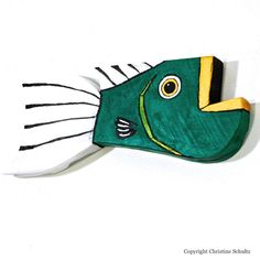 Fish Painting on Reclaimed Wood Green and Gold Folk by TaylorArts