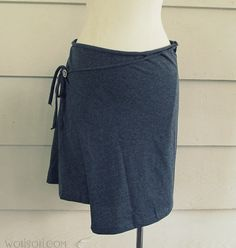 Brassy Apple blog--Easy wrap skirt made from a T-shirt! Looks cute for a beach skirt/ cover up with my tankini top.