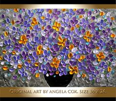 Original Modern Purple Yellow Flowers Impasto Textured Palette Knife Floral Painting. To see close ups please click on above images, then click on the opened image to maximize it. This listing is for a MADE TO ORDER ORIGINAL painting of a previously sold one, seen in the images above.